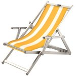 Aluminium ligstoel geel/wit