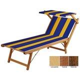Beukenhouten ligbed met blauwe bekleding met oranje banen (Golden Blue)_