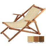 houten ligstoel beige