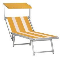Aluminium ligbed met zonneklep en amber bekleding met witte banen (Trevally)