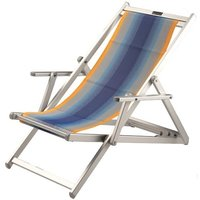 Aluminium ligstoel met blauwe in geel overlopende bekleding (Blue Flex)