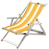 Aluminium ligstoel met gele bekleding en witte banen (Trevally)