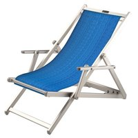 Aluminium ligstoel met blauwe bekleding met structuur (Electric Blue)