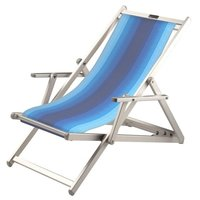 Aluminium ligstoel met blauwe in wit overlopende bekleding (Lithodora)