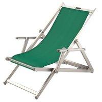 Aluminium ligstoel met groene bekleding (Verde)