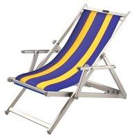 Aluminium ligstoel met blauwe bekleding en gele banen (Golden Blue)