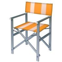Aluminium regisseursstoel met gele bekleding met witte banen (Regista Trevally)