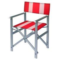 Aluminium regisseursstoel met rode bekleding met witte banen (Regista Red Lion)