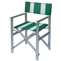Aluminium regisseursstoel met groene bekleding met witte banen (Regista Pool Green)