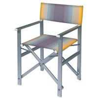 Aluminium regisseursstoel met blauwe naar amber overlopende bekleding (Regista Blue Flex)