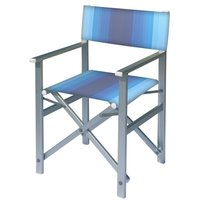 Aluminium regisseursstoel met blauwe naar wit overlopende bekleding (Regista Lithodora)