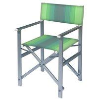 Aluminium regisseursstoel met groene naar wit overlopende bekleding (Regista Bright Green)