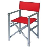Aluminium regisseursstoel met rode bekleding (Regista Rosso)
