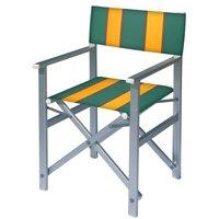 Aluminium regisseursstoel met groene bekleding met amber banen (Regista Avocado)