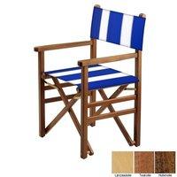 Beukenhouten regisseursstoel - blauw met witte banen (Regista Pool Blue Classico)