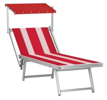 Aluminium ligbed met zonneklep en rode bekleding met witte banen (Red Lion)