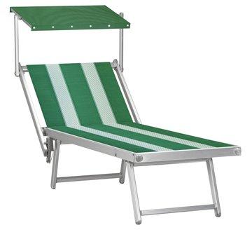 Aluminium ligbed met zonneklep en groene bekleding met witte banen (Pool Green)