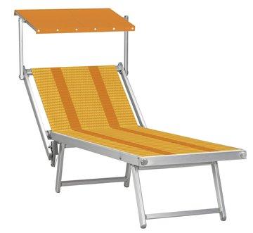 Aluminium ligbed met zonneklep en amber gestreepte bekleding