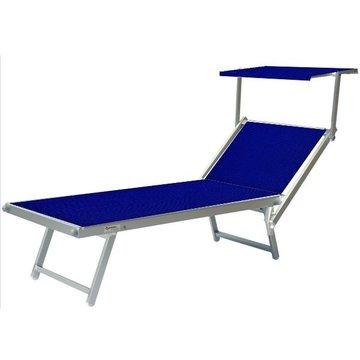 Aluminium ligbed met zonneklep en blauwe bekleding (Royal Blue)