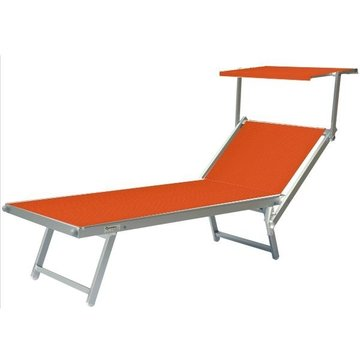 Aluminium ligbed met zonneklep en oranje bekleding (Arancione)