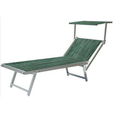 Aluminium ligbed met zonneklep en groene structuur bekleding (Seeweed)
