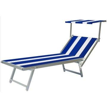 Aluminium ligbed met zonneklep en blauwe bekleding met witte banen (Pool Blue)