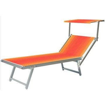Aluminium ligbed met zonneklep en rood/oranje bekleding (Fire)