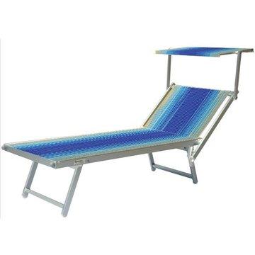 Aluminium ligbed met zonneklep en blauw/gele bekleding (Blue Flex)