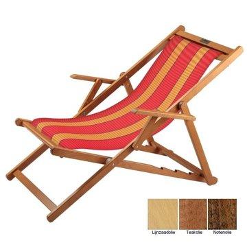 Beukenhouten ligstoel rood met oranje banen (Bibione Anthias Classico)