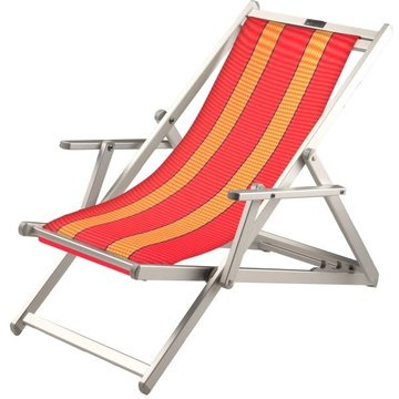 Aluminium ligstoel met rode bekleding en amberkleurige banen (Anthias)