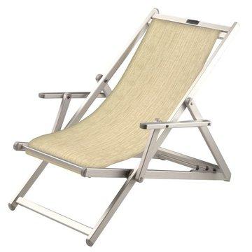 Aluminium ligstoel met ecru bekleding (Twistsand)