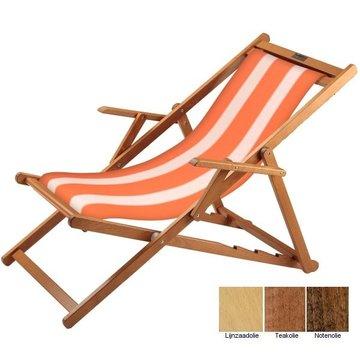 Beukenhouten ligstoel oranje met witte banen