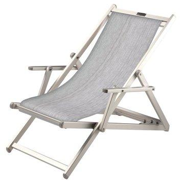Aluminium ligstoel met grijze bekleding (Mercury)