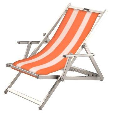 Aluminium ligstoel met oranje bekleding en witte banen (Nemo)