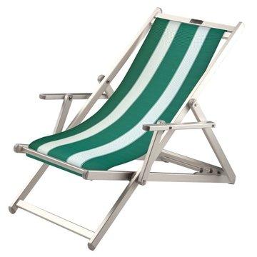 Aluminium ligstoel met groene bekleding en witte banen (Pool Green)
