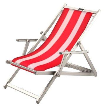 Aluminium ligstoel met rode bekleding en witte banen (Red Lion)