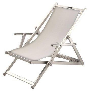 Aluminium ligstoel met witte bekleding (Bianco)
