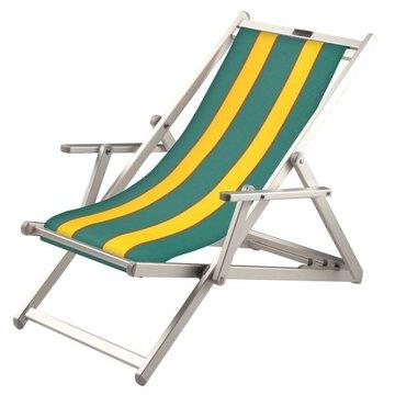 Aluminium ligstoel met groene bekleding en gele banen (Avocado)