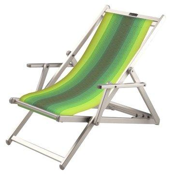 Aluminium ligstoel met groene in geel overlopende bekleding