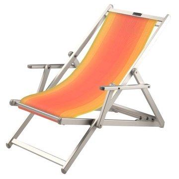 Aluminium ligstoel met rood in geel overlopende bekleding