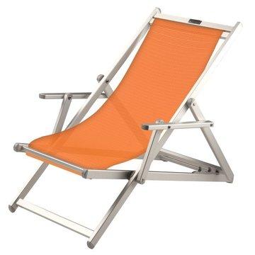 Aluminium ligstoel met oranje bekleding (grof geweven)