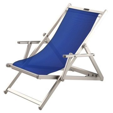 Aluminium ligstoel met donkerblauwe bekleding (grof geweven)
