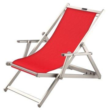 Aluminium ligstoel met rode bekleding (Rosso)