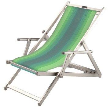 Aluminium ligstoel met groene in wit overlopende bekleding (Bright Green)