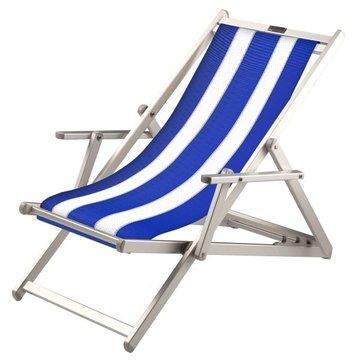 Aluminium ligstoel met blauwe bekleding en witte banen (Pool Blue)