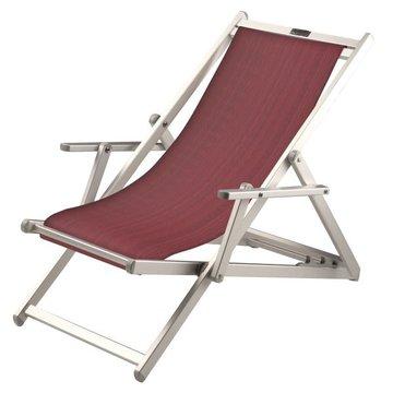 Aluminium ligstoel met aubergine structuur bekleding (Turnipred)
