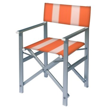 Aluminium regisseursstoel met oranje bekleding met witte banen (Regista Nemo)