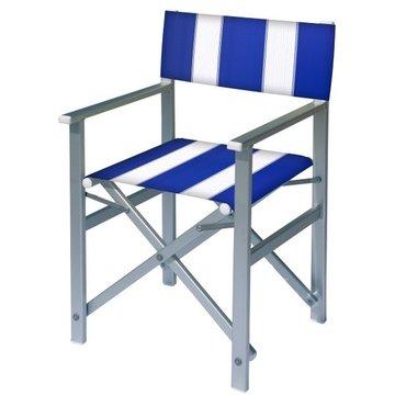 Aluminium regisseursstoel met blauwe bekleding met witte banen (Regista Pool Blue)