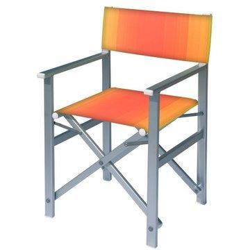 Aluminium regisseursstoel met rode naar amber overlopende bekleding (Regista Fire)