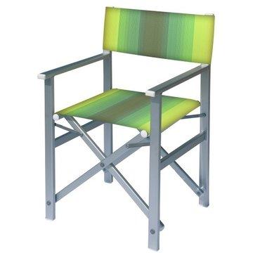 Aluminium regisseursstoel met groene naar amber overlopende bekleding (Regista Golden Green)